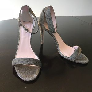 Gold & Gray Glitter Fabric Kate Spade 7.5B Sandal